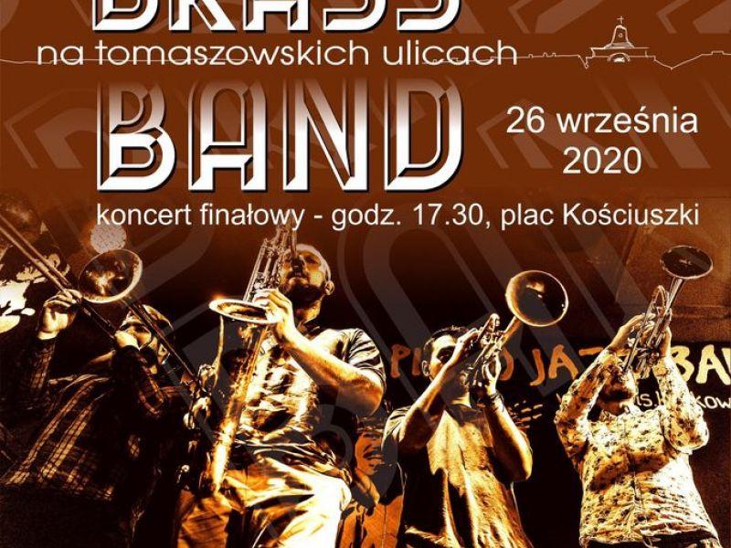 Plakat, na plakacie muzycy grupy Parnass Brass Band z instrumentami, data i godzina występu