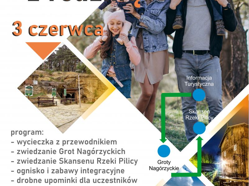plakat zdjęcia rodziny skansenu oraz grot  treść z informacji