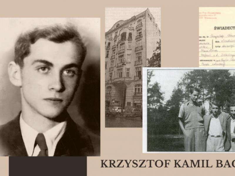 na zdjęciu fragment planszy poświęconej K.K. Baczyńskiemu, stanowiacej element ekspozycji w Miejskiej Bibliotece Publicznej. Na planszy fotografia poety, kopia świadectwa chrztu i zdjęcie z kolegami