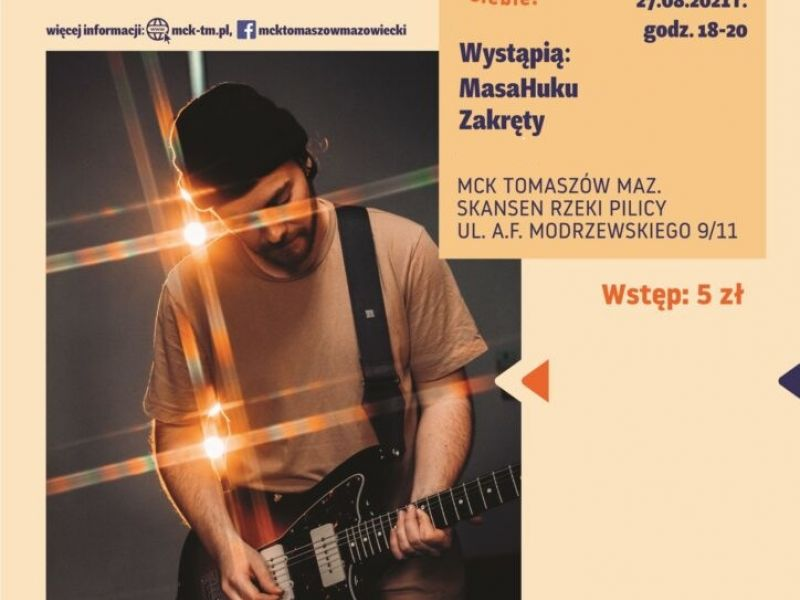 Na zdjęciu plakat letniej sceny muzycznej MCK. Na plakacie gitarzysta