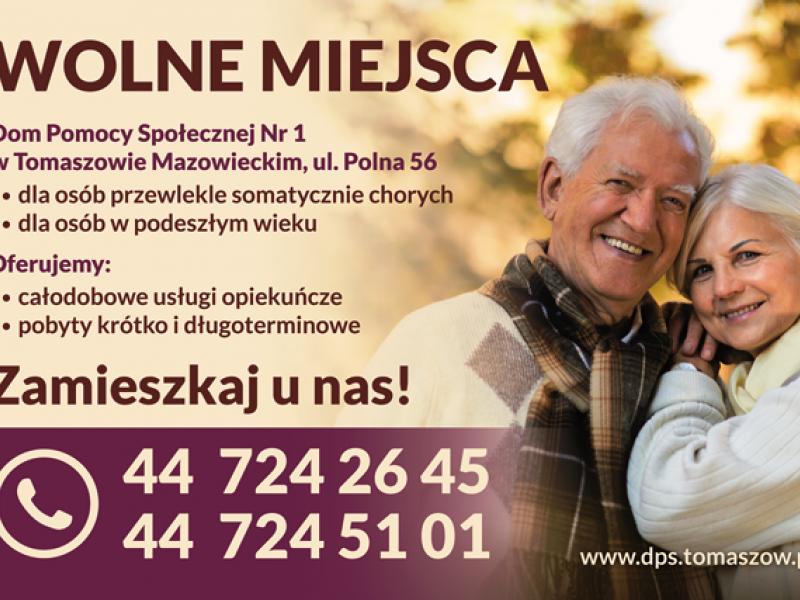 Na zdjęciu baneer z info o wolnych miejscach w DPS nr 1. Na zdjęciu umieszczonym na banerze para uśmiechniętych seniorów