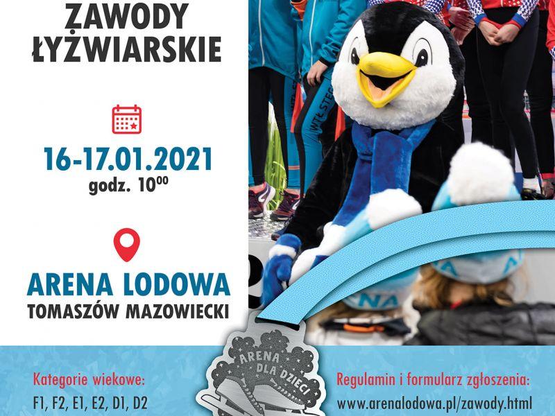 Plakat zawodów, zdjęcie maskotki Areny czyli dużego pluszowego pingwina i dzieci na podium, na plakacie informacje zawarte również w tekście informacji