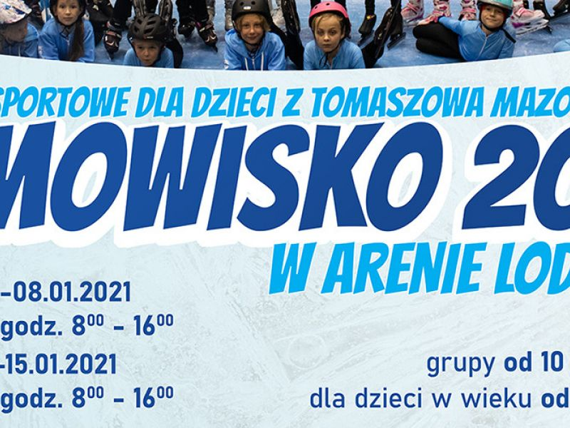 Na zdjęciu baner informujący o zimowisku w Arenie Lodowej. Na banerze skadrowane zdjęcie grupowe najmłodszych łyżwiarzy oraz informacja tekstowa o zimowisku