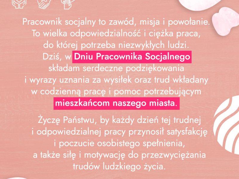 Grafika na różowym tle z życzeniami dla pracowników socjalnych