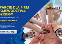 Na zdjęciu baner ŁódzkiejAgencji Rozwoju Regionalnego informujący o spotkaniach dla przedsiębiorców. Na banerze foto młodych ludzi trzymających się za ręce