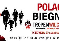 Na zdjęciu plakat Biegu tropem wilczym. Na plakacie sylwetki żołnierzy wyklętych oraz biegaczy z flagami RP (wersja graficzna)